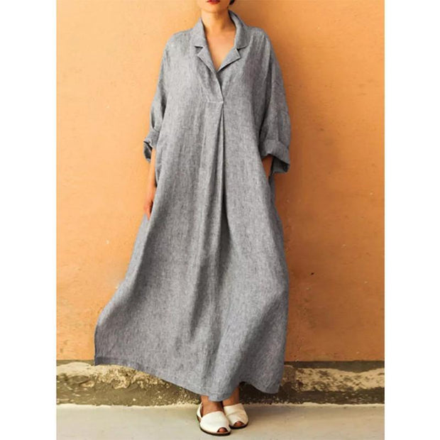 Plus Size V-neck Long Sleeve Solid Color Casual Loose Maxi Dress