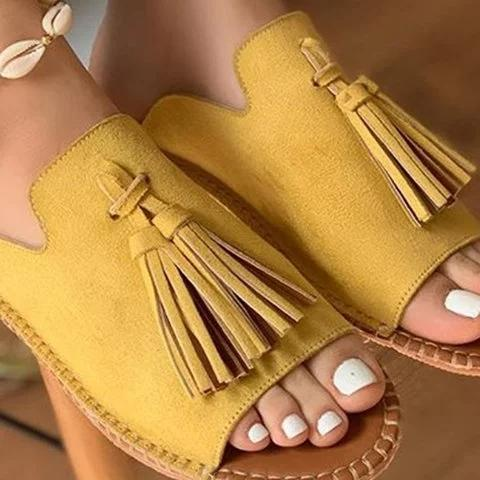 2019 New Chic Roman Tassel Flat Slides Sandals For Women - Chicshoeshop