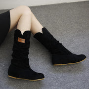 Mid Calf Boots for Women Flat Heel Winter Warm Shoes - Chicshoeshop