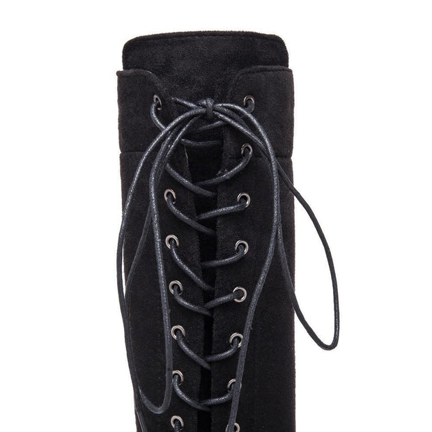 Winter Lace Up Boots for Women Over The Knee Zipper Boots - Chicshoeshop