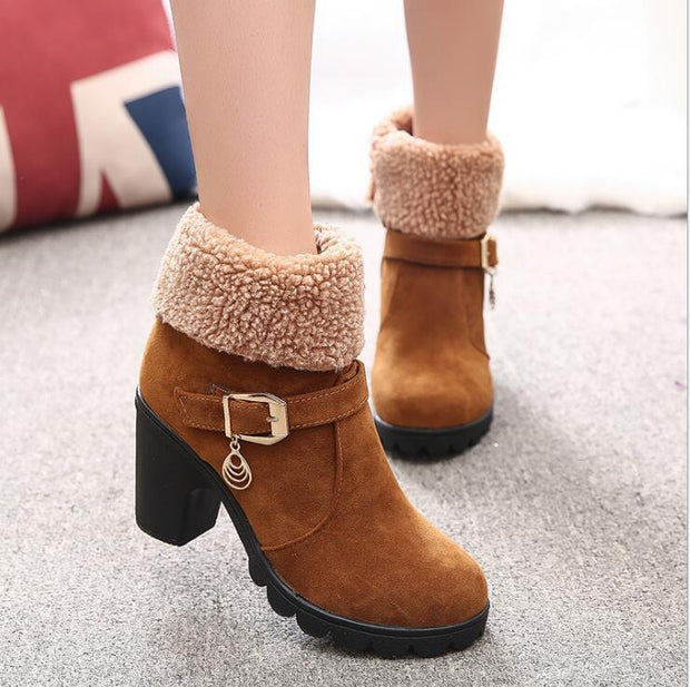 Autumn Winter Solid buckle snow boots - Chicshoeshop