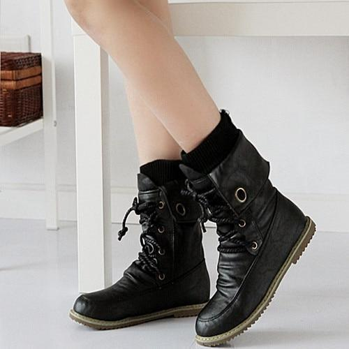 Vintage Lace Up Flat Heels Snow Boots