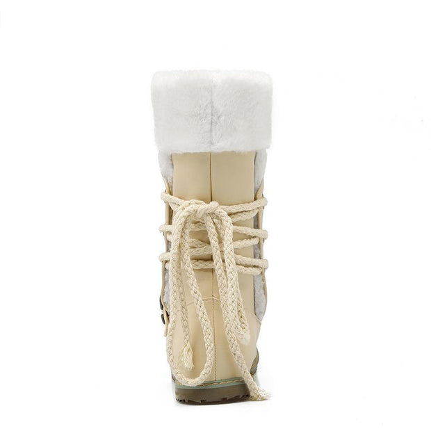 Casual Low Heels Round Toe Buckle Snow Boots - Chicshoeshop