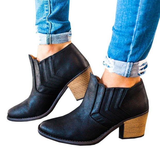 Chunky Heel Ankle Booties Black Gray Brown - Chicshoeshop