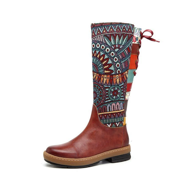 Socofy Vintage Mid-calf Boots Women Shoes Bohemian Retro Genuine Leather Motorcycle Boots Printed Side Zipper Back Lace Up Botas - Chicshoeshop