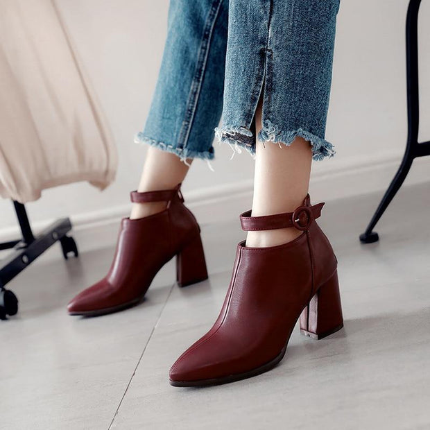 Pointed Toe Square Heels Fashion Buckle Ankle Boots - Chicshoeshop