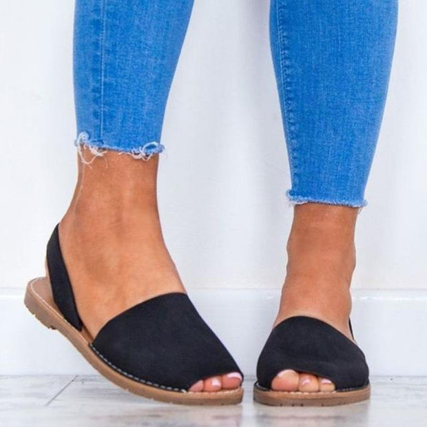 Casual Peep Toe Suede Slip On Elastic Sandals - Chicshoeshop
