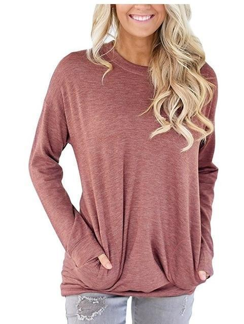 Casual Solid Batwing Tunic Tops - Chicshoeshop