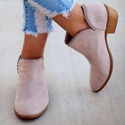 Fashion lace leather  low heel ankle boots - Chicshoeshop
