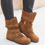 Winter Warm Suede Buckle Strap Casual Snow Boot