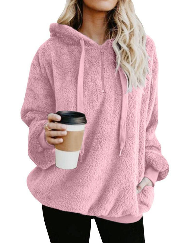 Women Winter Pullover Sweatshirt Long Sleeve Zip Front Fuzzy Warm Fleece Hoodies Outwear - Chicshoeshop