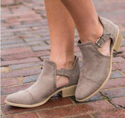 Flock Leather Chunky Heel Ankle Strap Buckle Round Toe Autumn Boot - Chicshoeshop