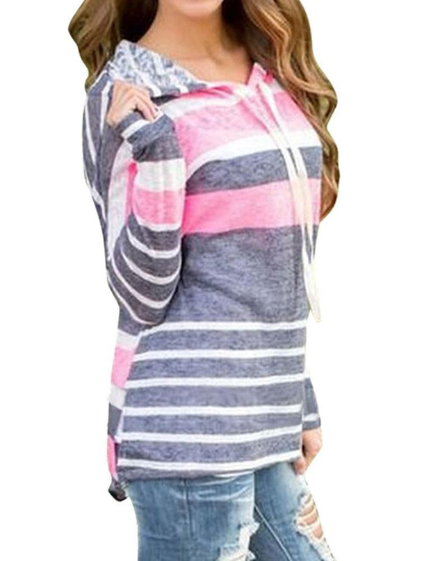 Drawstring Women Casual Striped Sweatshirts - Chicshoeshop