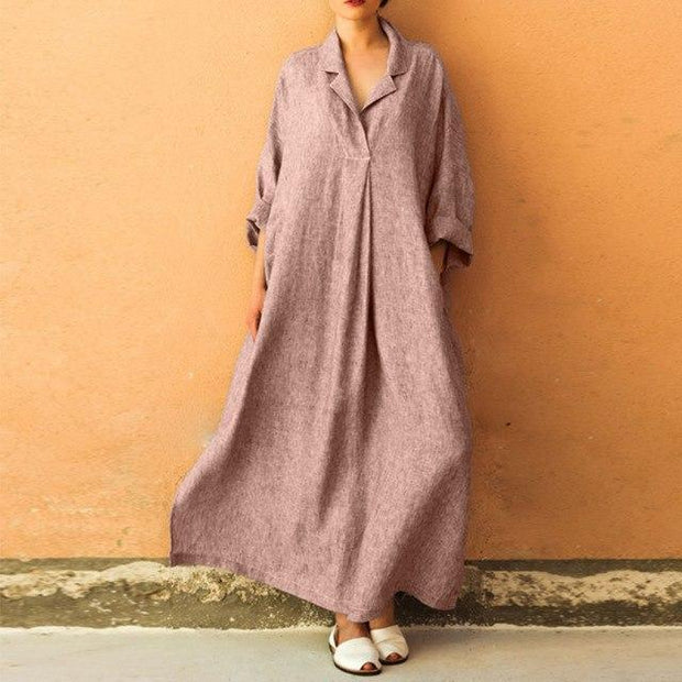 Autumn Winter Cotton Linen Maxi Dress - Chicshoeshop