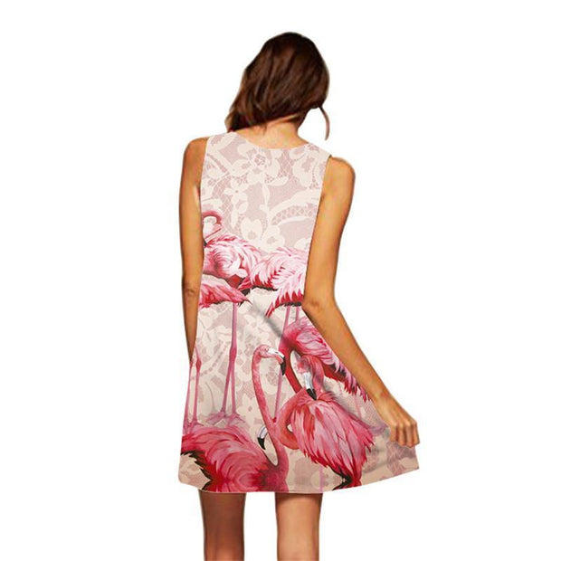 Flamingo Floral Print Beach Boho Dress - Chicshoeshop