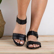 Women Plus Size Leaf Strap Hollow Breathable Flat Sandals - Chicshoeshop