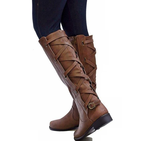 Knee High Zipper Motorcycle Boots Low Heels Buckle Cross Tie Platform Boots - Chicshoeshop