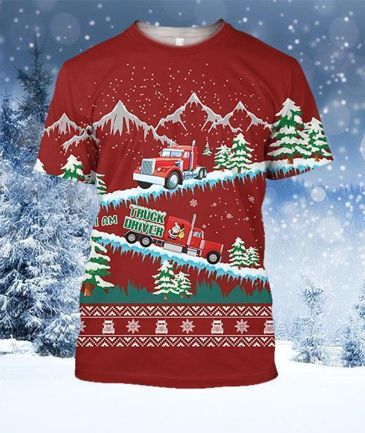 3D All Over Printed Christmas Truck Shirts-Apparel-6teenth World-T-Shirt-S-Vibe Cosy™