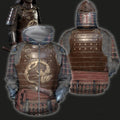 3D All Over Printed Dragon Samurai Armor-Apparel-HP Arts-ZIPPED HOODIE-S-Vibe Cosy™