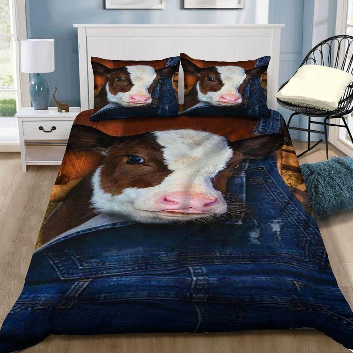 COW DENIM BEDDING SET-HP-Bedding-HP Arts-Twin-Vibe Cosy™