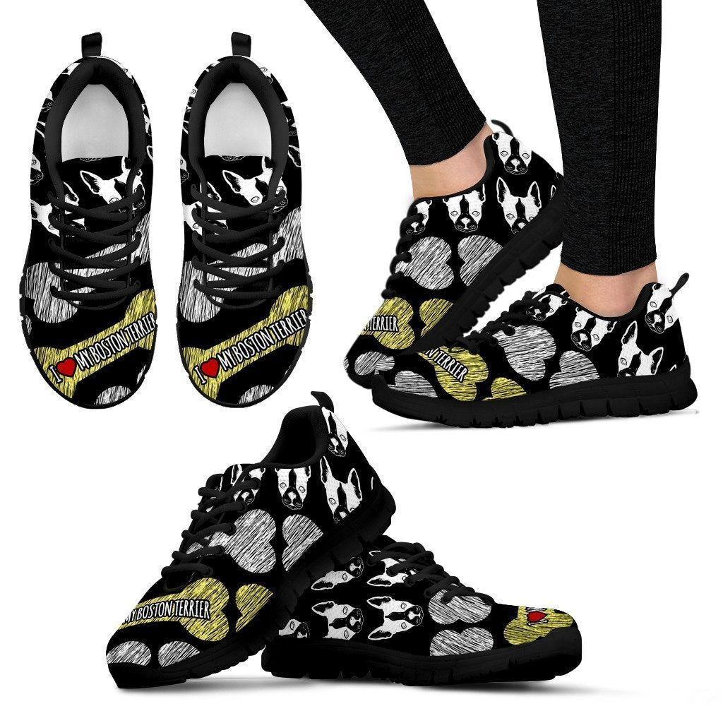 I Love My Boston Terrier Women's Sneakers-6teenth World™-Women's Sneakers-US5 (EU35)-Vibe Cosy™