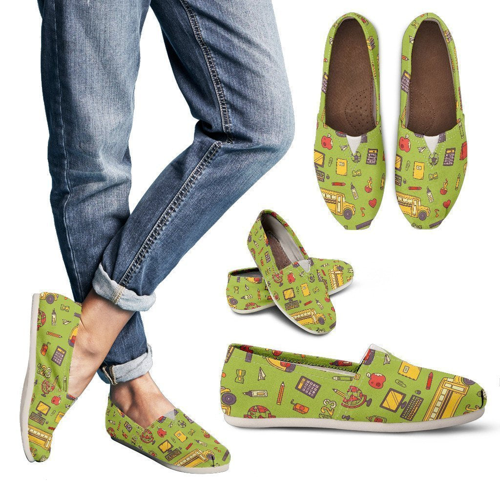 Back 2 School Green Casual Slip Ons-6teenth World™-Women's Casual Shoes-US6 (EU36)-Vibe Cosy™