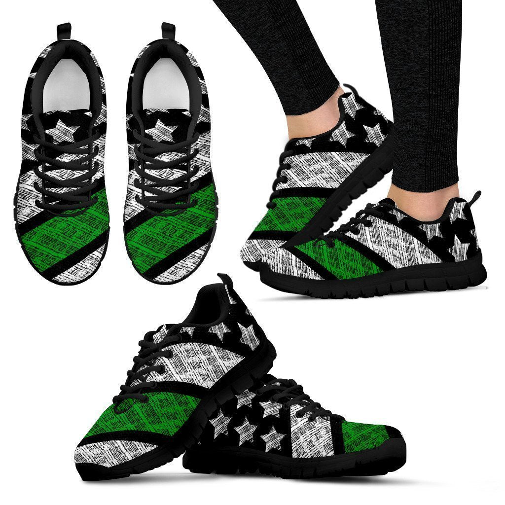 Thin Green Line (Black) Women's Sneakers-6teenth World™-Women's Sneakers-US5 (EU35)-Vibe Cosy™