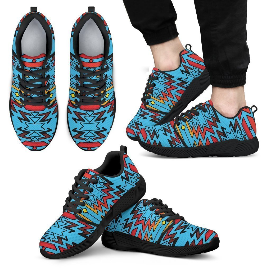 Turquoise Fire and Turquoises Sopo Men's Athletic Sneakers-6teenth World™-Men's Athletic Sneakers-US5 (EU38)-Vibe Cosy™