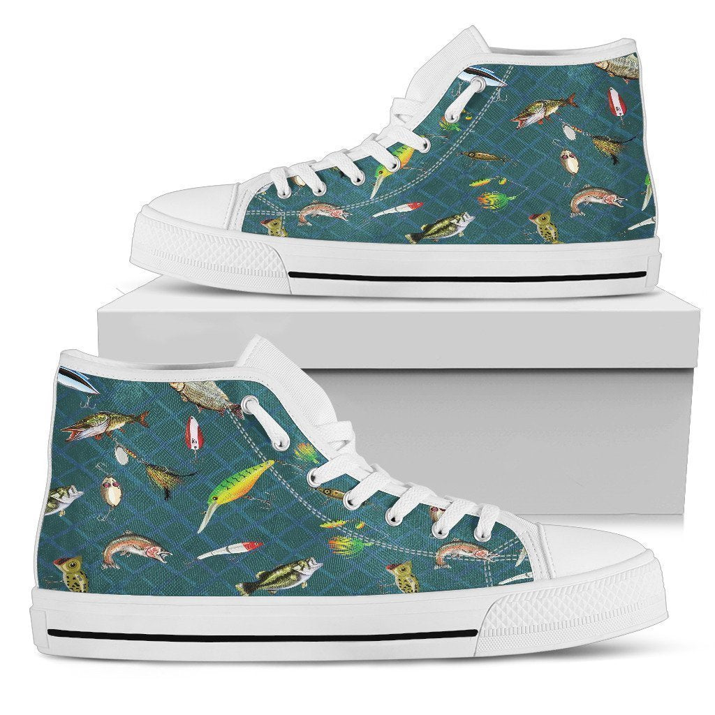 Swimming fish Women's High Tops-6teenth World™-Women's High Top Shoe-US5.5 (EU36)-Vibe Cosy™
