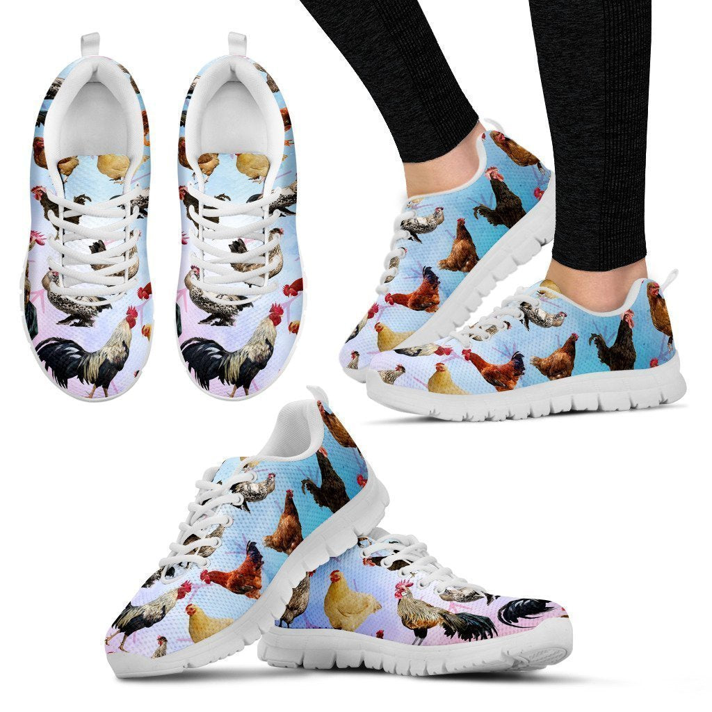 Chicken Lovers Women's Sneakers (White)-6teenth World™-Women's Sneakers-US5 (EU35)-Vibe Cosy™