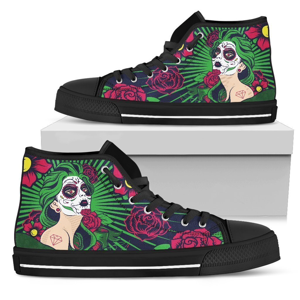 Sugar Skull-shoes-6teenth Outlet-Mens High Top - Black - Sugar Skull-US5 (EU38)-Vibe Cosy™