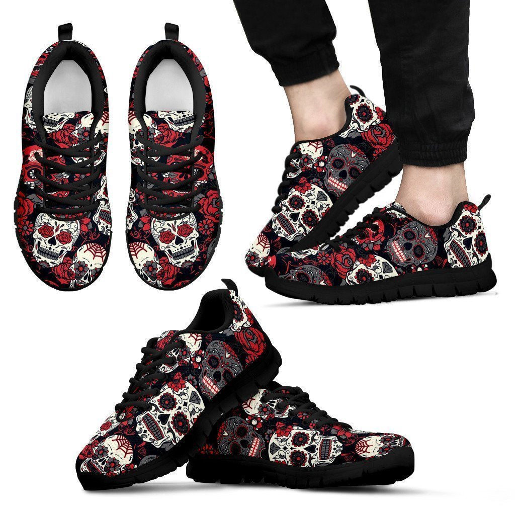 Sugar Skull Red and Black Men's Sneakers-6teenth World™-Men's Sneakers-US5 (EU38)-Vibe Cosy™