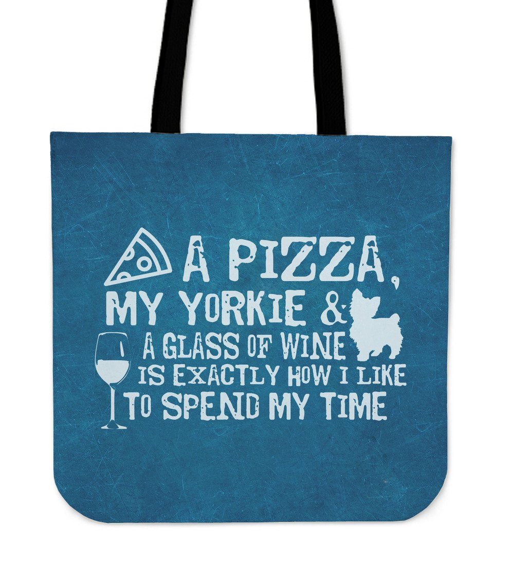 Pizza, Yorkie and Wine Totebag-Amaze Style™-Pizza, Yorkie and Wine Totebag-Vibe Cosy™