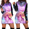 3D All Over Butterflies Art Pink Hoodie Dress Blanket-Apparel-TA-Hoodie Dress-S-Vibe Cosy™