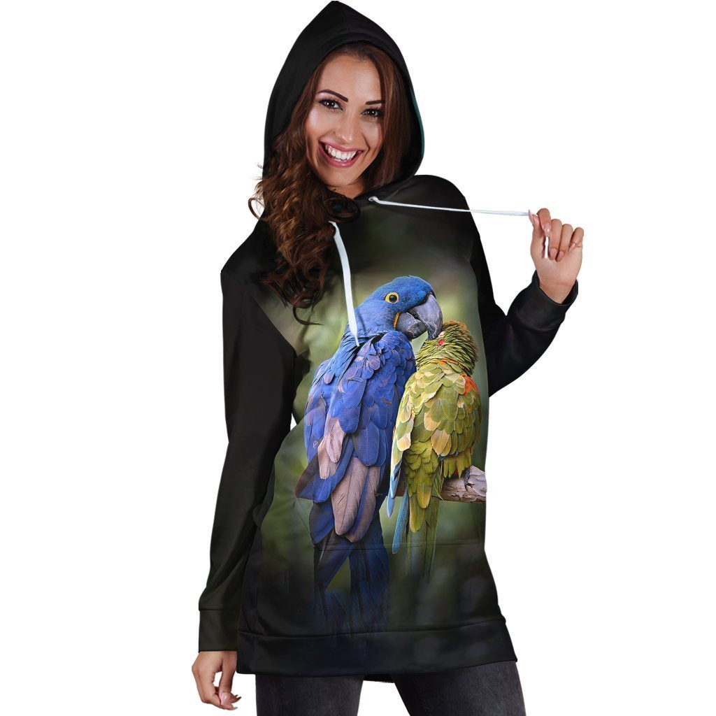 3D All Over Macaw Parrot Hoodie Dress-Apparel-PHL-Hoodie Dress-S-Vibe Cosy™