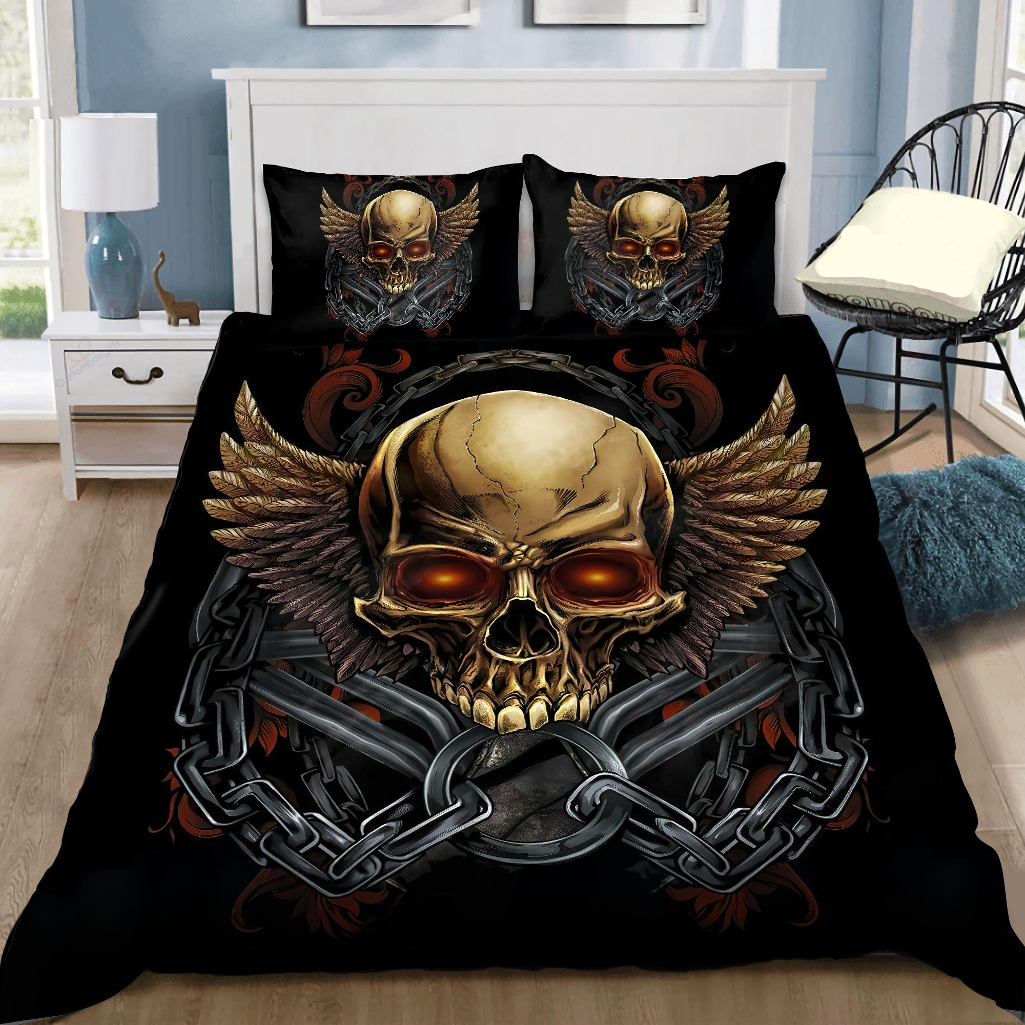 Skull On The Wings Bedding Set DQB07182007-TQH-BEDDING SETS-TQH-Twin-Vibe Cosy™
