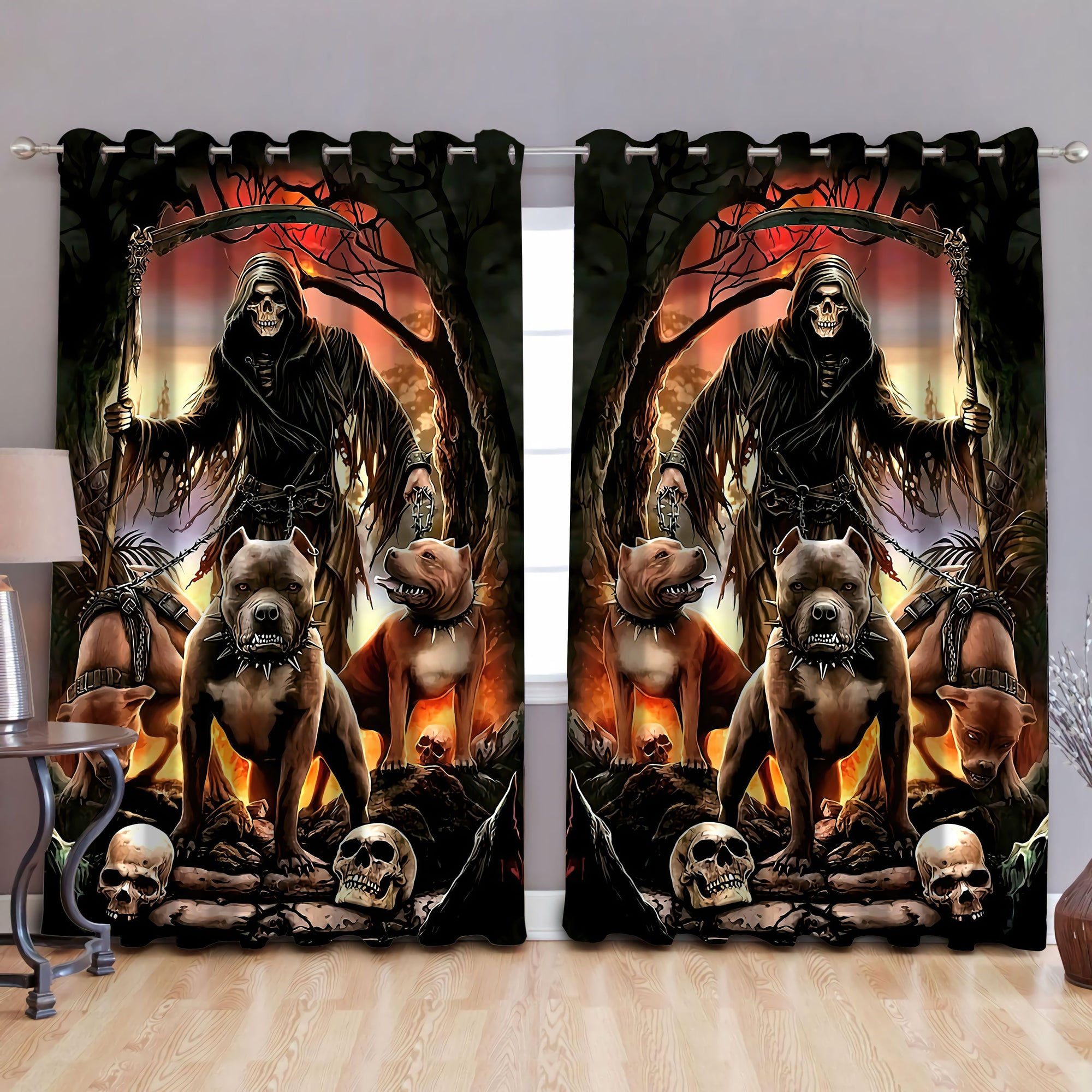 God Of The Death With Pitbull Curtains DQB07232013-TQH-Curtains-TQH-52'' x 63''-Vibe Cosy™