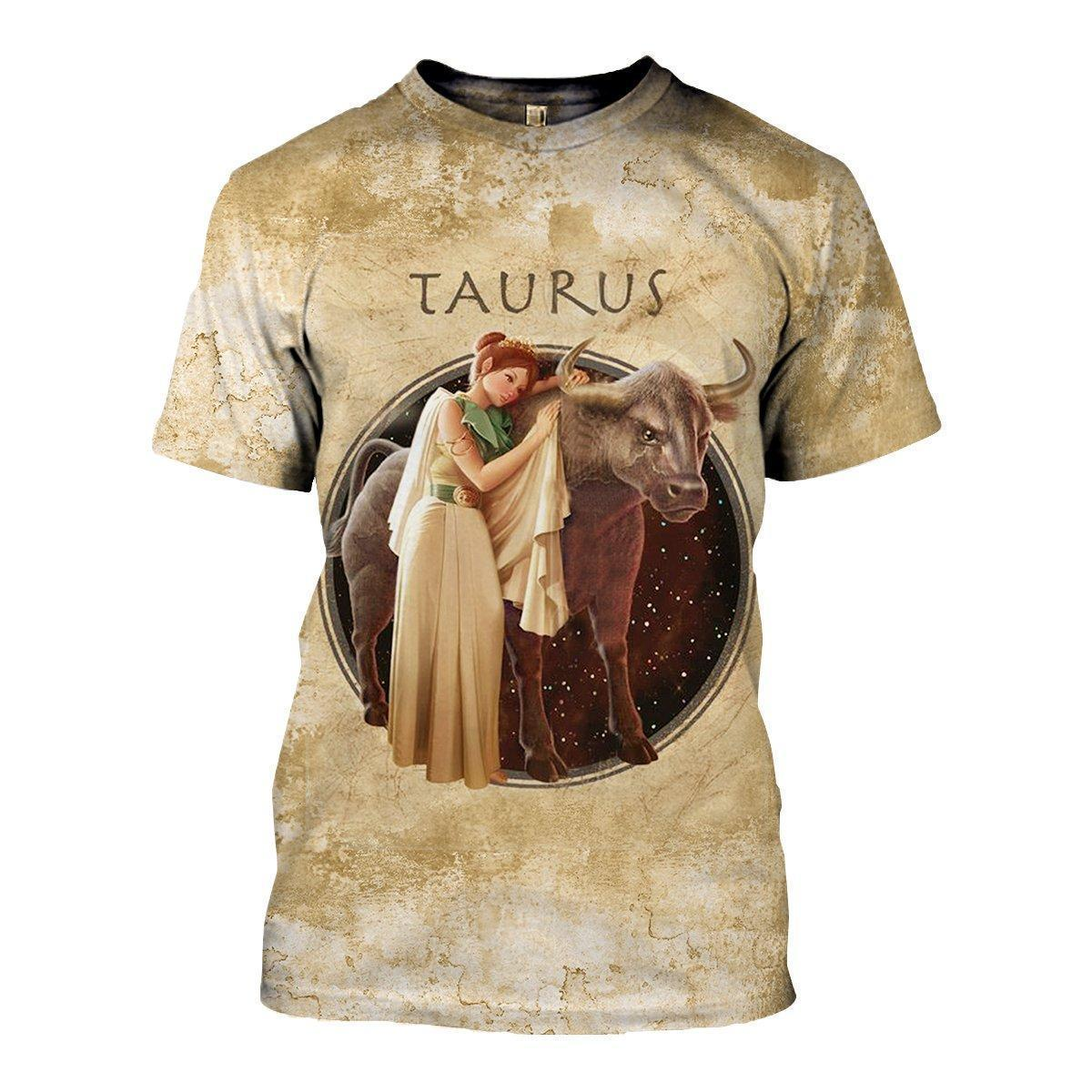 3D ALL OVER PRINTED TAURUS ZODIAC T SHIRT HOODIE NTH150848-Apparel-NTH-T-Shirt-S-Vibe Cosy™