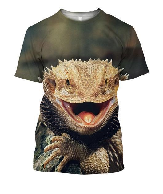 3D All Over Print Central Bearded Dragon-Apparel-HbArts-T-Shirt-S-Vibe Cosy™
