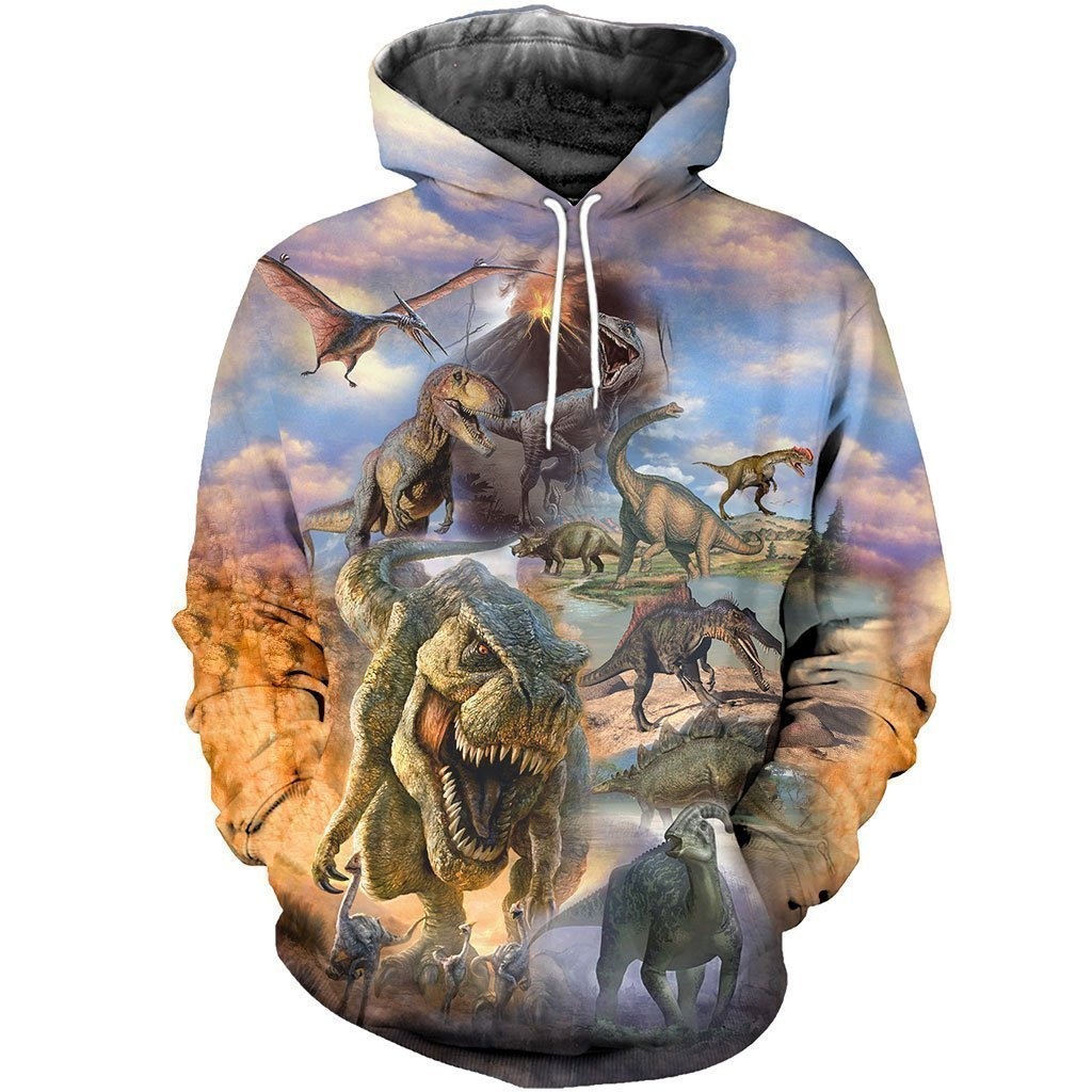 3D All Over Printed Dinosaurs Collection Art Shirts and Shorts-3D All Over Printed Clothes-HP Arts-Normal Hoodie-XS-Vibe Cosy™