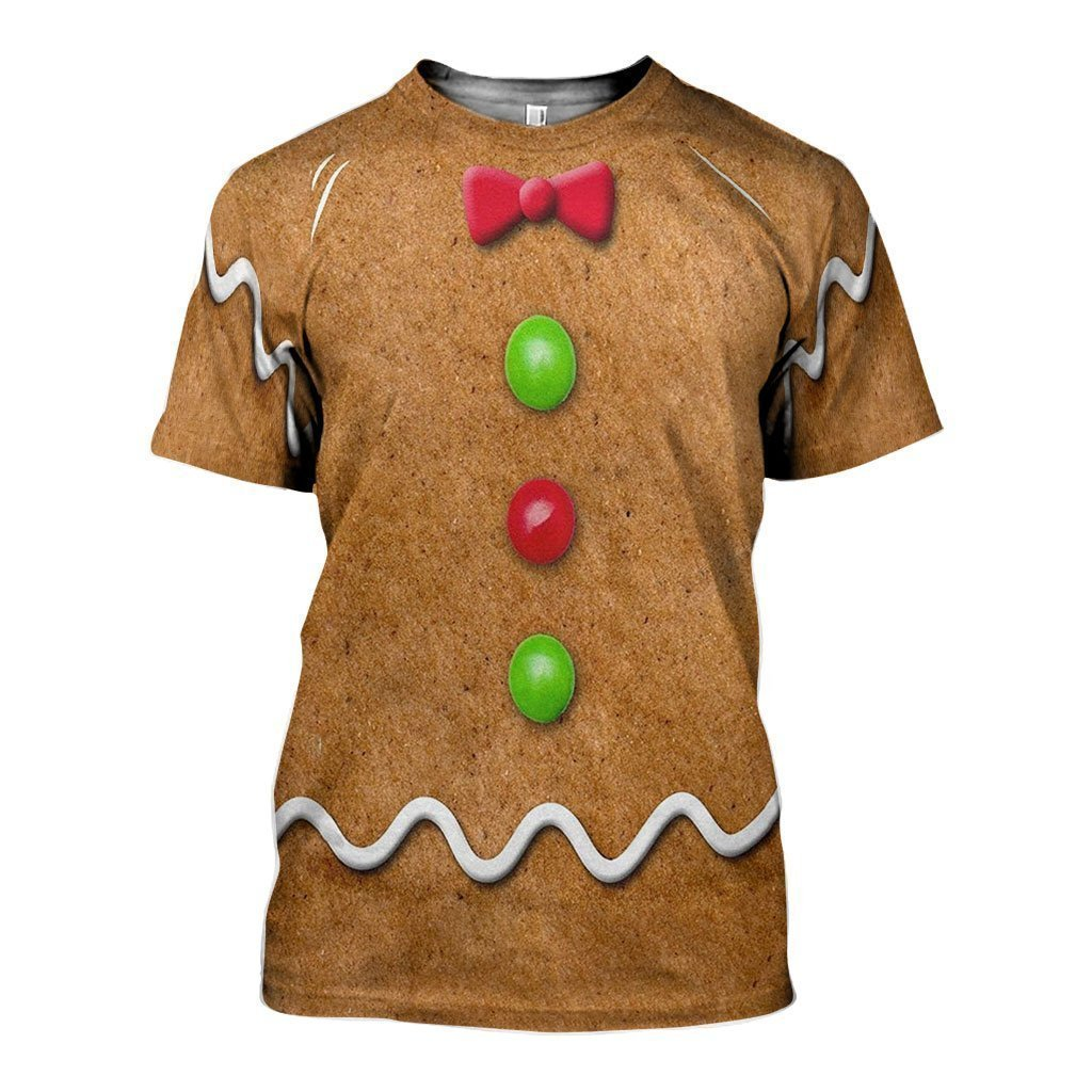 3D All Over Printed Ginger Bread Man Shirts and Shorts-Ginger Bread Man-RoosterArt-T-shirt-XS-Vibe Cosy™