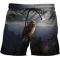 3D All Over Print Owl Drinking Coffee Shirts-Apparel-Phaethon-SHORTS-S-Vibe Cosy™