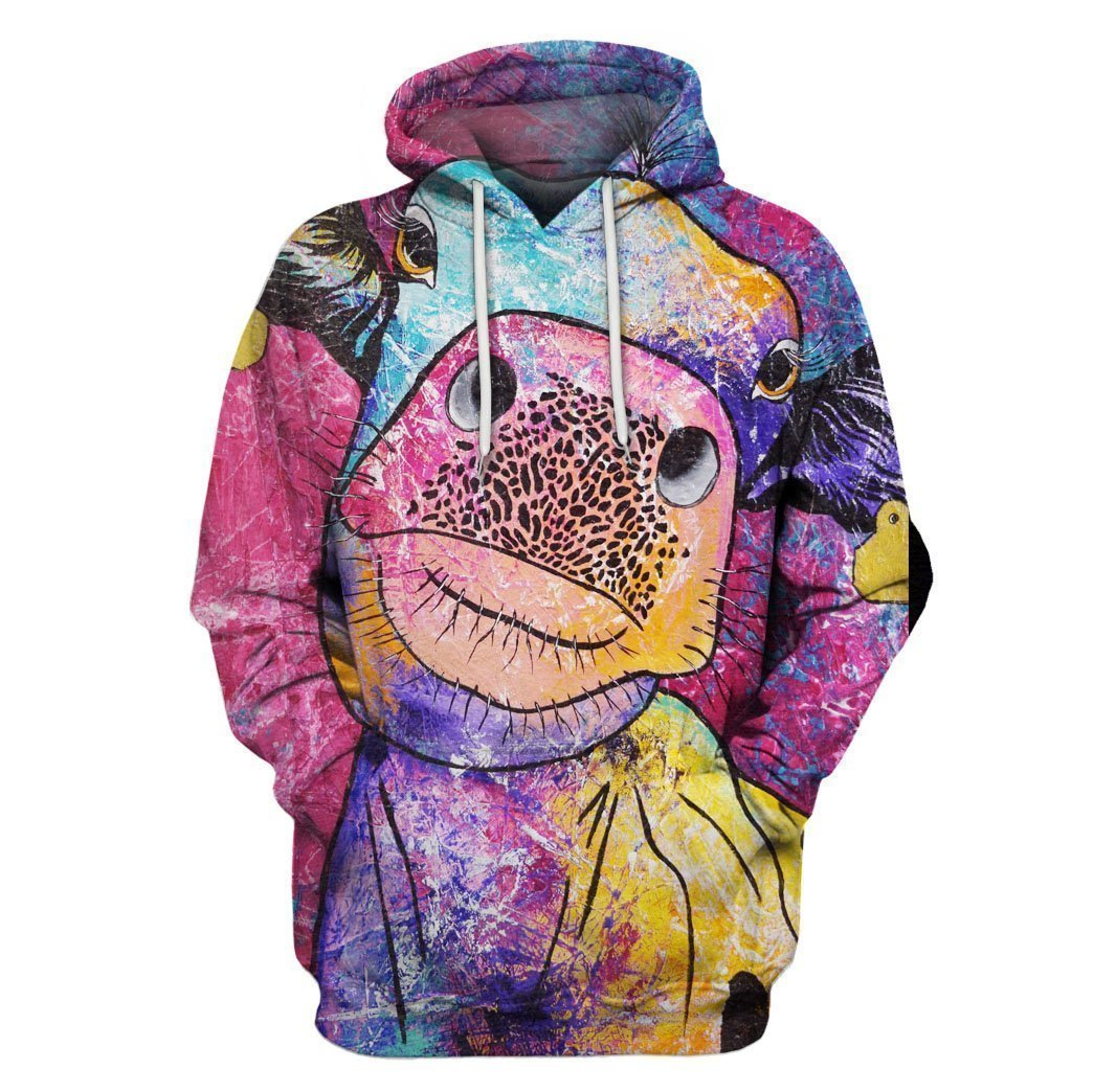 3D All Over Print Colourful Cow Hoodie-Apparel-6teenth World-Hoodie-S-Vibe Cosy™