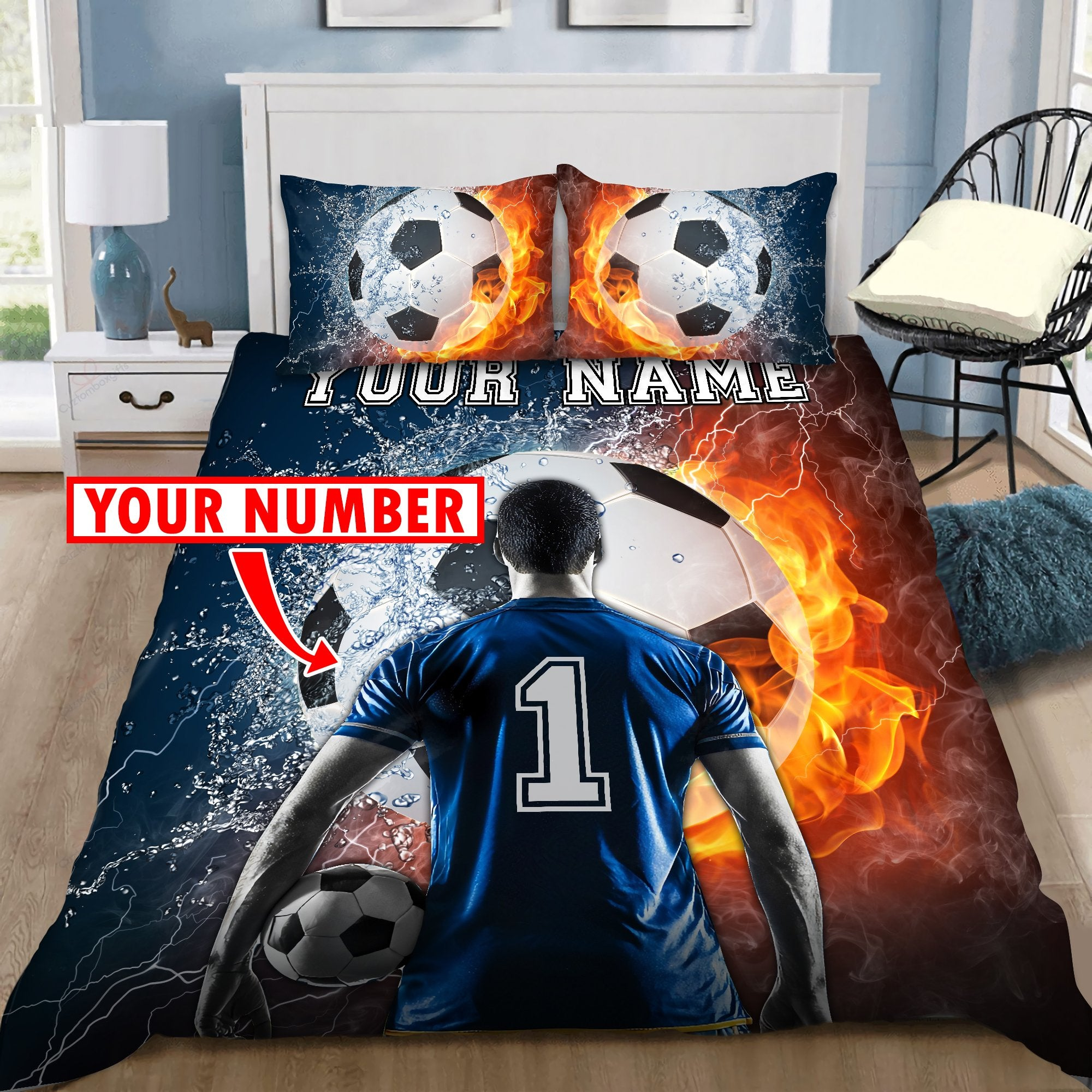 Soccer Love Custom Bedding Set with Your Name and Your Number DQB07102010-Quilt-SUN-King-Vibe Cosy™