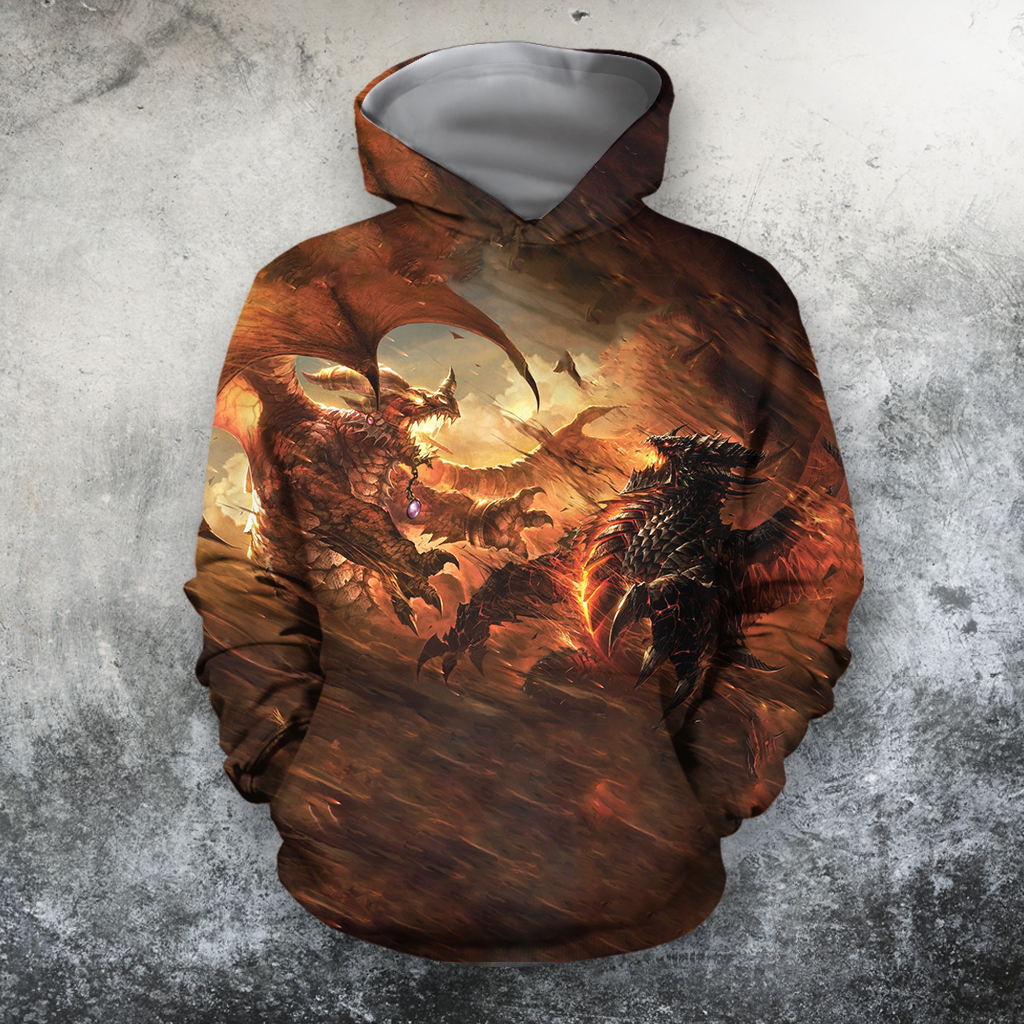 3D All Over Print Fighting Dragon-Apparel-PHLong-Hoodie-S-Vibe Cosy™