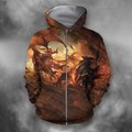 3D All Over Print Fighting Dragon-Apparel-PHLong-Zip-S-Vibe Cosy™