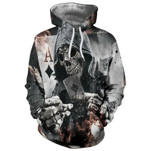 Trend Men's Digital Print Skull Pattern Hooded Sweater HC0606 - Amaze Style™-Apparel