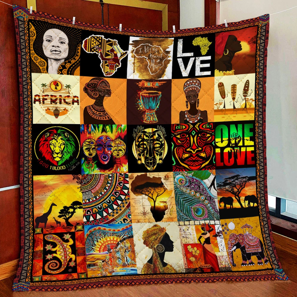 Africa culture black girl quilt HG71000-Quilt-HG-Throw-Vibe Cosy™