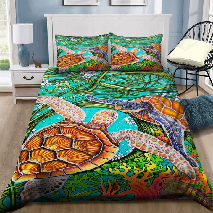 A couple of sea turtle real love bedding set HG71113-HG-US Twin-Vibe Cosy™