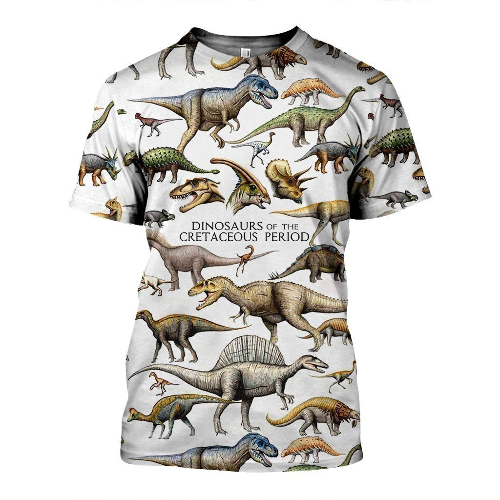 3D All Over Printed Dinosaurs Of The Cretaceous Period Shirts And Shorts-3D All Over Printed Clothes-HP Arts-T-shirt-XS-Vibe Cosy™